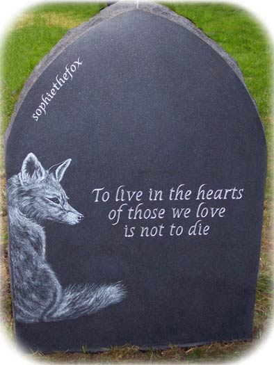 Gothic Top Headstone for Sophie The Fox